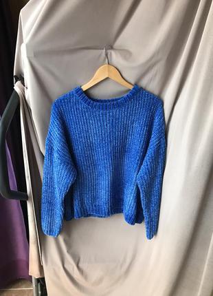 Тёплый вязаный синий укорочений мягкий свитер кофта primark ра...