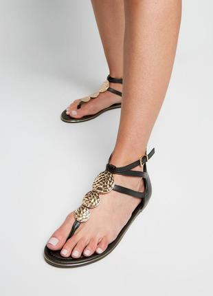 Atmosphere black sandals with gold hammered discs сандали босо...