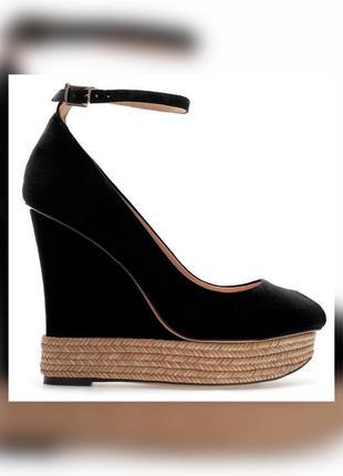 Zara black covered platform wedges оригинал замшевые босоножки...