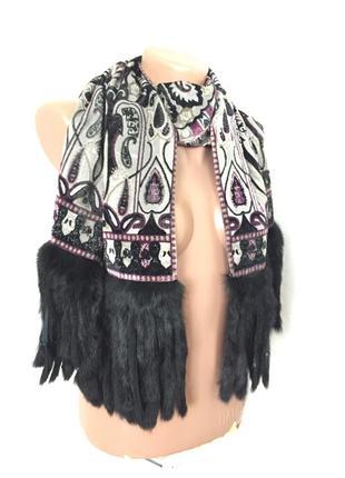 Роскошный шарф с натуральным мехом