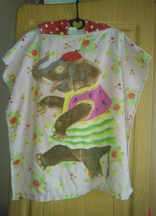 Детское банное, пляжное полотенце - пончо