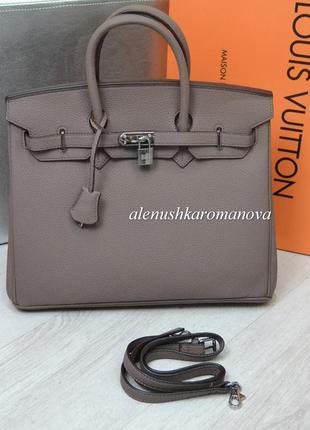 Женская сумка гермес биркин (в стиле) лиловый цвет, офисная сумка