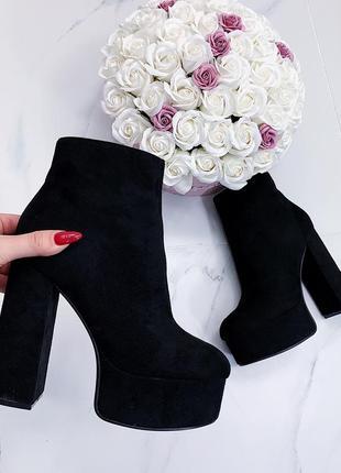 Шикарные черные замшевые ботильоны на каблуке,замшевые ботинки...