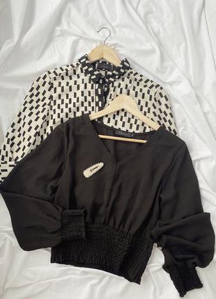 Чёрная шифоновая блуза, блузка, рубашка с пышным рукавом today