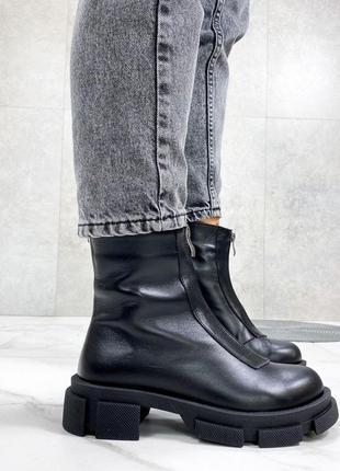 Демисезонные кожаные ботинки на тракторной подошве,кожаные бот...