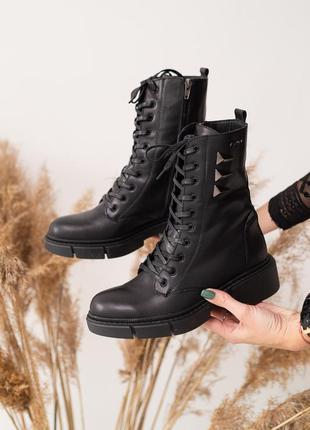 Натуральная кожа! женские ботинки берцы