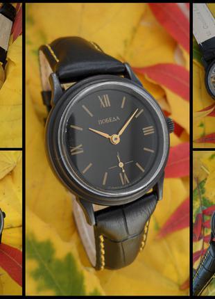 ПОБЕДА_ЧЁРНЫЙ_ХРОМ сделано в СССР 90-х. часы мужские механика.