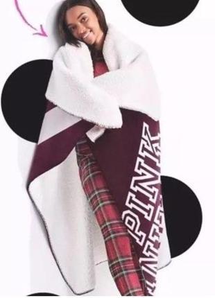 Тёплый плед victoria's secret pink оригинал, пледик покрывало