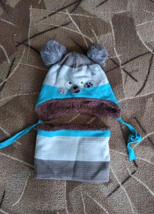 Детский зимний комплект - шапка и хомут