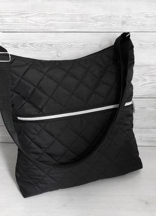 Легкая стеганая женская черная сумка кросс-боди с длинным реме...