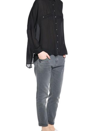 Чёрная рубашка с декоративными карманами mango / s / oversize