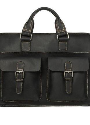 Сумка - портфель wild leather / мужской / кожа / черная  с рем...