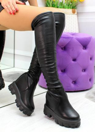 Трендовые черные женске высокие сапоги ботфорты на платформе