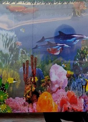 Картина панно аквариум с подсветкой и движущимися рыбками,новая