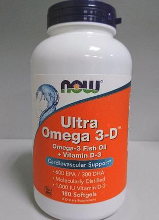 Рыбий жир омега Now Foods Ultra Omega 3-D, 600 EPA/300 DHA, 180 к