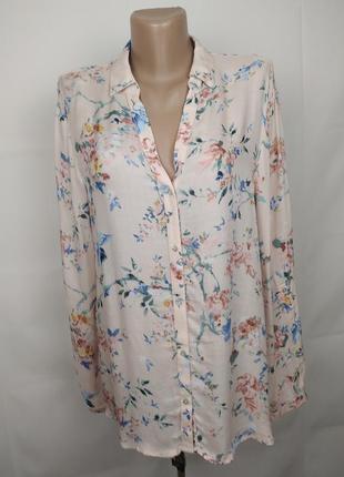 Блуза натуральная оригинальная шикарная в цветы esprit uk 12/40/m