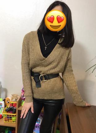 Распродажа !стильный свитер кофта под пояс h&m мохер