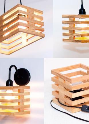 Дизайнерские светильники з дерева Бра Люстра Настольная лампа