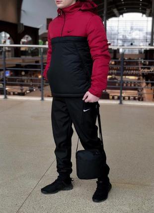 Комплект анорак найк теплый красно-черный + штаны теплые+ в по...