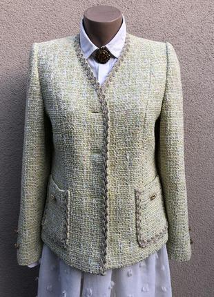 Винтаж,твидовый,шерсть жакет,пиджак,стиль шанель,люкс бренд ,