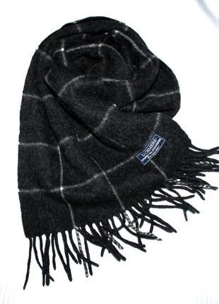 Мужской шарф кашне шерсть кашемир клетка серый lochmere
