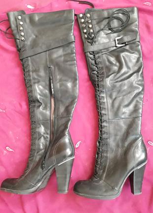 Сапоги ботфорты чёрные кожаные