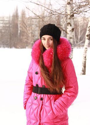 Пуховик натуральный мех енота  пальто курточка зимняя snowimage