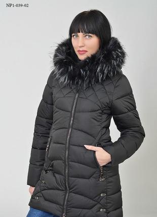 Куртка зимняя стёганая удлиненная, пуховик с меховым капюшоном