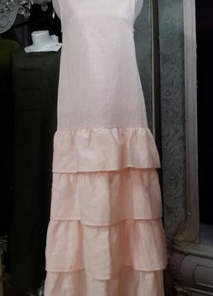Летнее платье season персик из льна с оборками