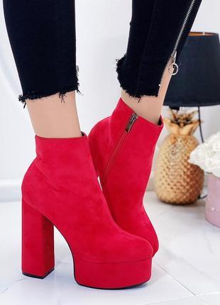 Шикарные красные замшевые ботильоны на каблуке,замшевые ботинк...