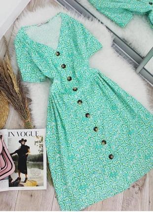 Яркое льняное чайное платье халат пуговицы принт лимоны xl-xxl