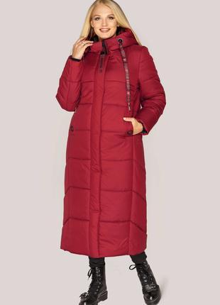 Размеры 44-54 Зимняя куртка пальто Элли красный
