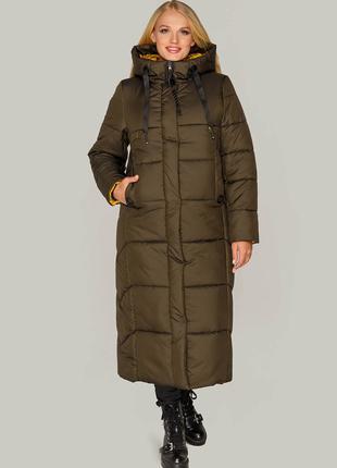 Размеры 44-54 Зимняя куртка пальто Элли хаки