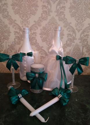 Декор свадебного шампанского и бокалов