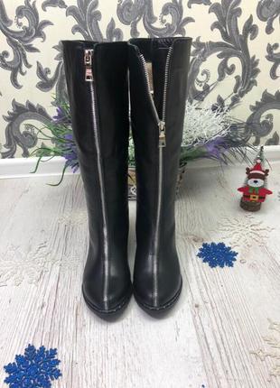 36-41 рр деми / зима сапоги ботфорты черные натуральная кожа, ...