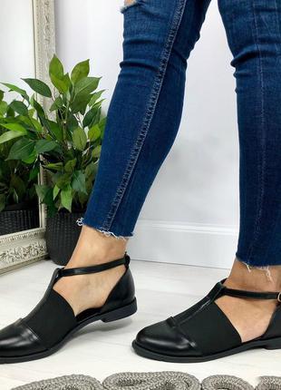 Туфли, босоножки, балетки черные на низком ходу натуральная кожа