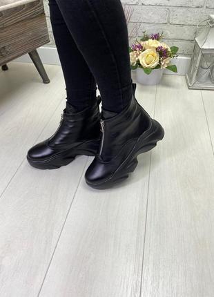 Ботинки, кроссовки черные на высокой подошве деми / зима натур...