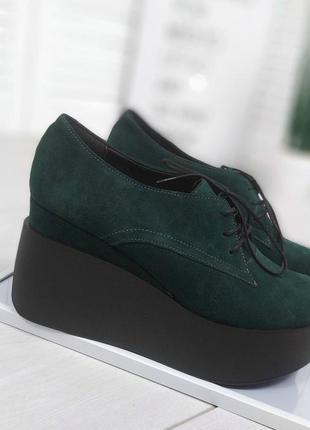 Женские туфли, ботильоны зеленые на танкетке натуральная замша...
