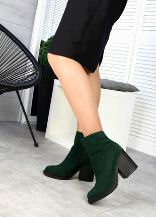 Женские ботильоны зеленые на каблуке натуральная замша kelo 1-1