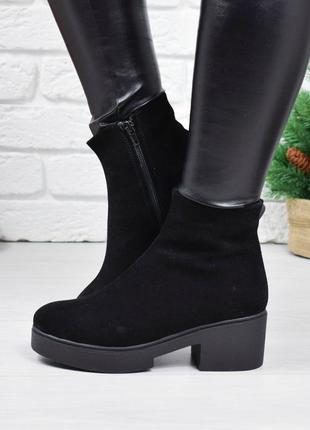 Женские ботинки черные на каблуке натуральная замша osso 1-2