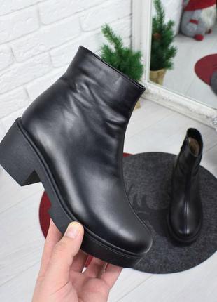 Женские ботинки черные на каблуке натуральная кожа osso 1-2