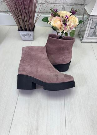Женские ботинки пудра на каблуке натуральная замша osso 1-2