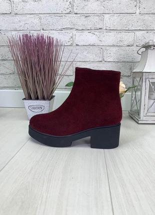 Женские ботинки бордо на каблуке натуральная замша osso 1-2