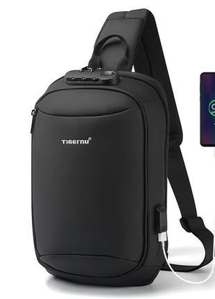 Мужской однолямочный рюкзак Tigernu T-S8100 USB порт RFID-защита