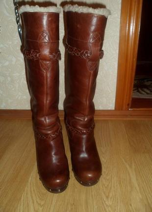 Женские сапоги зимние UGG 3209 SAVANNA Clog Heel Leather Studde
