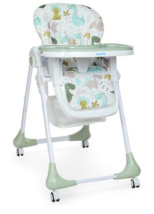 Стульчик для кормления, детский стульчик M 3233 Dino Pine Green