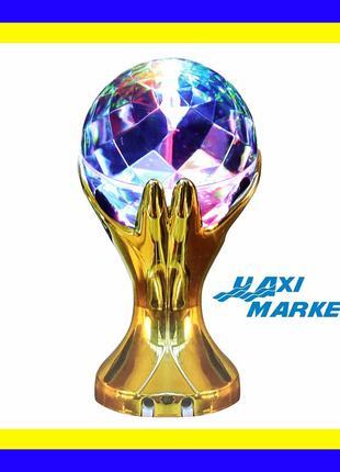 Светильник диско шар рука золотая статуетка (DISCO лампа ночник L