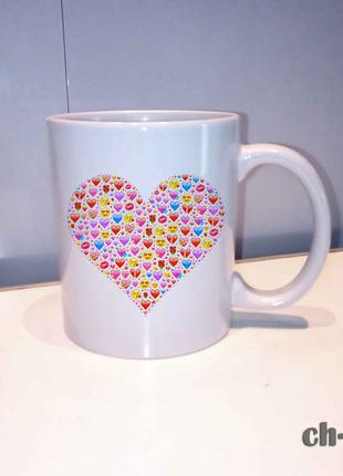 Чашка с принтом смайлики love. сердечко