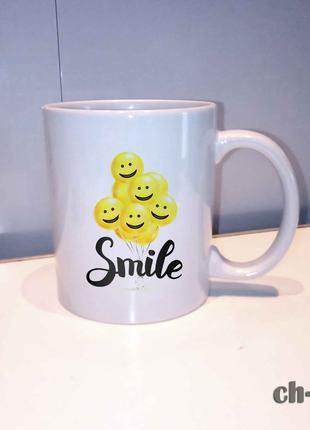 Чашка с принтом смайлы smile. улыбочки