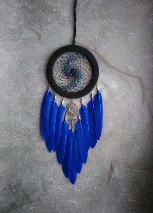 Ловец снов с синими перьями и 3D паутиной, оригинальный подарок.
